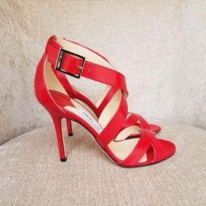 NIB Jimmy Choo Bright Red Leather Lottie Sandals